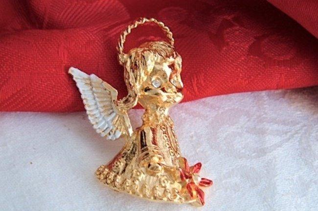 Vintage Gerry's Christmas Angel Pin Gold Tone Rhinestone Enamel NIB