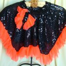 Black Sequin Skirt w/ Orange Ruffle Dance Costume Tap Jaz Halloween Med-Lg Child