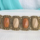 1960s Vintage Wide Wood Look Panel Bracelet Antiqued Gold Plate Fancy Frames