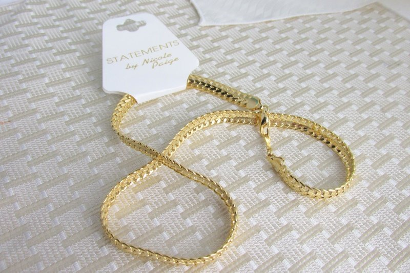 """Statements 7MM Herringbone 18"""" Chain Necklace Gold Plated Nicole Paige"""