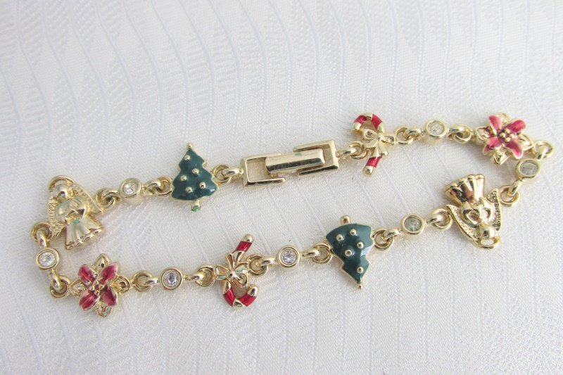 Vintage Dainty Christmas Rhinestone Bracelet Gold Plate Tree Canes Angels Flower