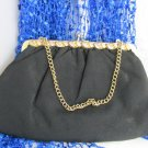 Vintage Black Cloth Clutch Purse w/ 2 Tone Gold Plate Metalwork Rhinestone Chain