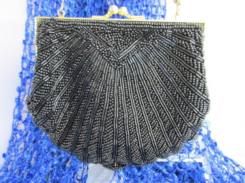 Vintage COLORIFICS Scalloped Black Bead Clutch Purse Evening Art Deco Revival