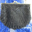 Vintage COLORIFICS Scalloped Black Bead Clutch Purse Evening Art Deco Revival
