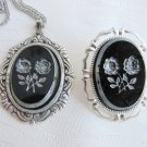 Vintage Rose Pressed Black Glass Oval Pendant Necklace & Pin Silver Tone