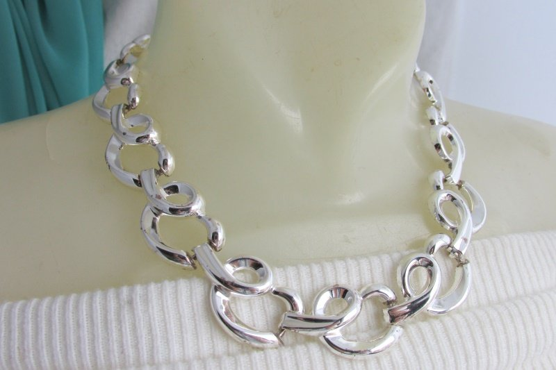 "Vintage Pretzel Curlicue Silver Plated Links 18"" Necklace Statement Beautiful"
