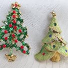 2 Vintage Christmas Tree Holiday Pins Gold Plate Rhinestones Enamel 1 Signed JJ