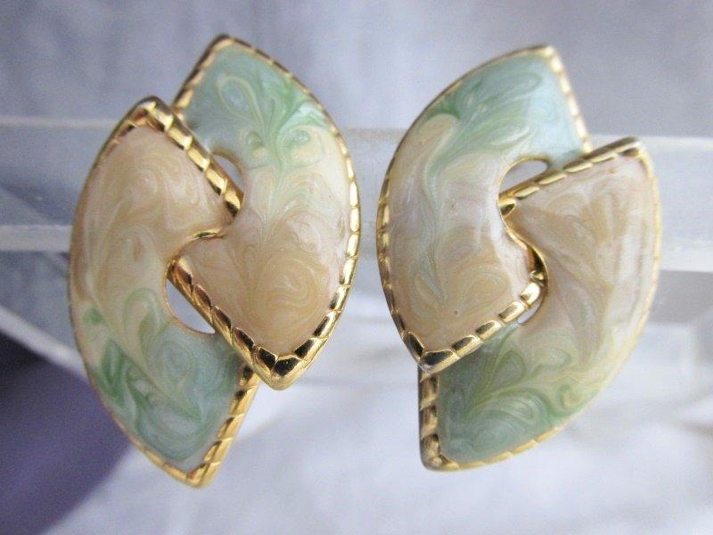 Vintage Cream Tan Sage Golden Swirls Enamel Earrings Gold Plated Pierced