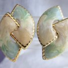 Vintage Cream Tan Sage Golden Swirls Enamel Earrings Gold Plated Pierced