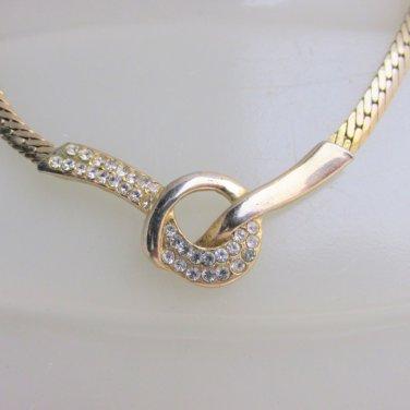 Vintage Rhinestone Knot Pendant Herringbone Chain Necklace Golden Elegance