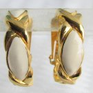 Vintage Avon Off White Cream Enamel Large Hoop Earrings Gold Plated Clip On