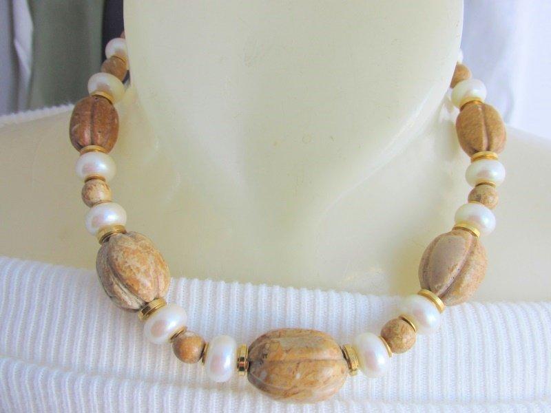 Vintage Heavy Polished Carved Jasper & Faux Pearl Necklace Strand