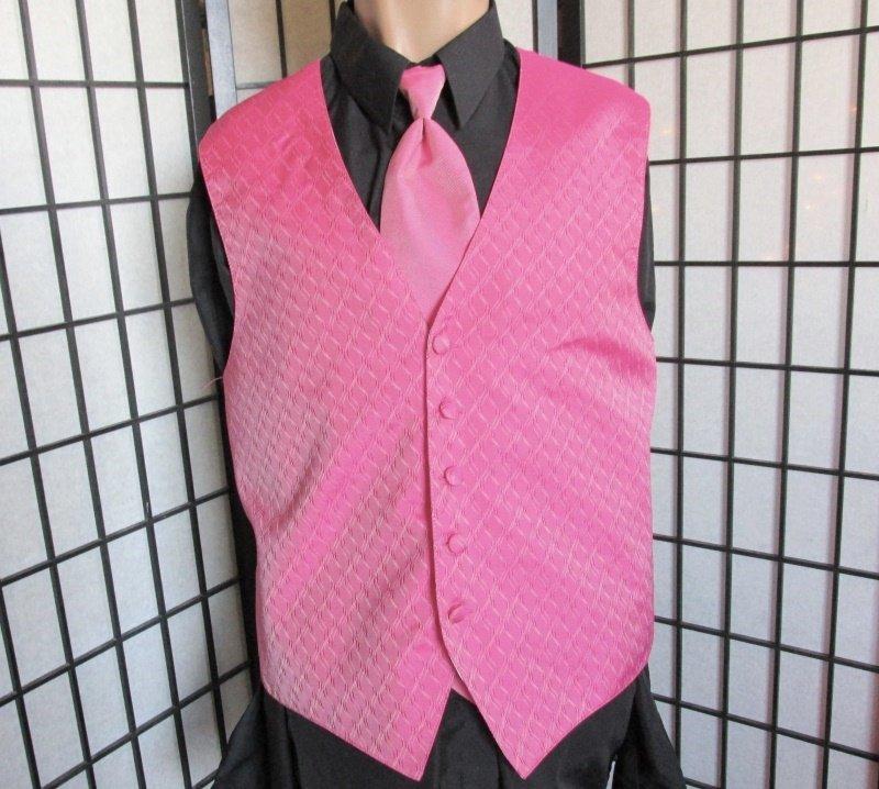 Med Brandon Michael Fuchsia Pink Prom Wedding Fullback Tuxedo Vest Windsor Tie