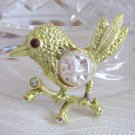 Vintage Bird on Branch Pin Brooch Baroque Faux Pearl Belly Rhinestones Goldtone