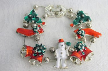 Christmas Charm Slide Bracelet Silver Plate Chains Tree Frosty Bells Stockings