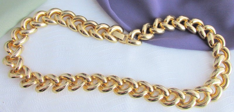 """Vintage Curb Chain Style 18"""" Necklace Gold Plate Classic Design"""