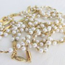 Vtg NAPIER Faux Pearls Gold Plated Braided Herringbone Chain Necklace & Bracelet