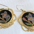 Vintage Purple Iris Cloisonne' Enamel Pendant Earrings Gold Plate Large Rounds