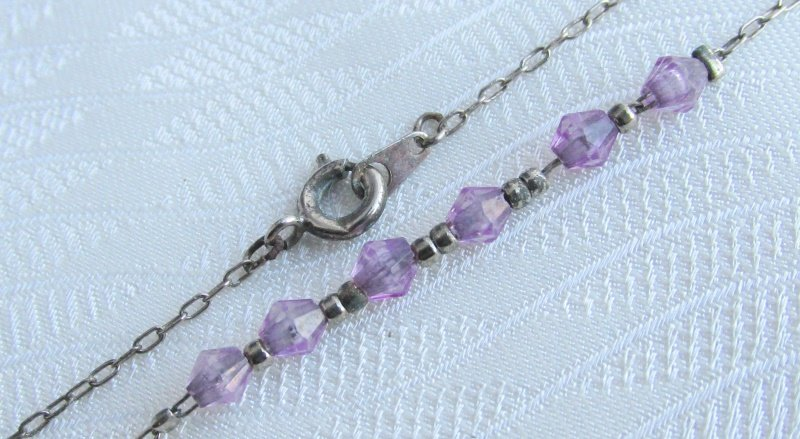"Vintage Purple Bicone Beaded Ankle Bracelet 9"" Silver Plated Chain Pretty"