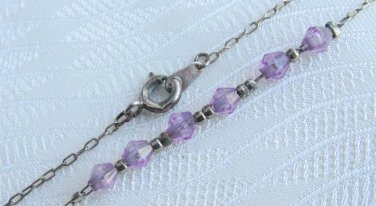"""Vintage Purple Bicone Beaded Ankle Bracelet 9"""" Silver Plated Chain Pretty"""