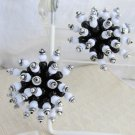 Vintage Huge Black White Beaded Cluster Burst Earrings Clips Silvertone Acrylic