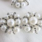 Estate Vintage 1 Yard White Faux Pearl Silver Bead Flower Trim Gowns Craft