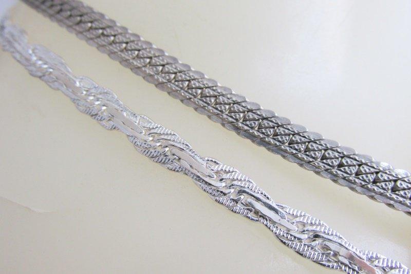 """2 VTG Chain Necklaces Herringbone 24"""" Braid Herringbone 30"""" 14K White Gold Plate"""