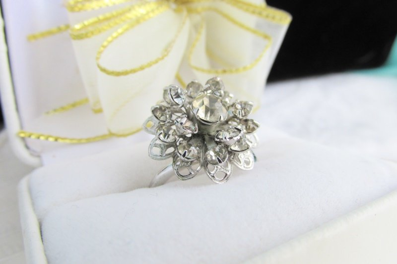 1968 Vintage Sarah Coventry Symphony Ring Silver Plate Rhinestones Sz 6  Adjust