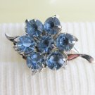 Vintage Blue Rhinestone Flower Leaf Pin Brooch Silver Plate Tiered Construction