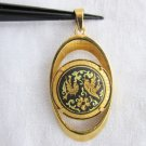 Vintage Oval Damascene Pendant Lovebirds Flowers Elliptical Frame Bale GoldPlate
