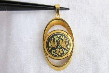 Vintage Oval Damascene Pendant Lovebirds Flowers Elliptical Frame Bale GoldPlate