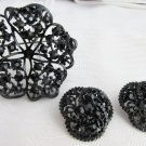 Vintage Black Rhinestone Pin Earrings Japanned Metal Black Mourning Jewelry