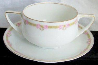 Antique Art Deco Rosenthal Bouillon Soup Cup Saucer Made Bavaria Double Handles