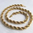 "Vintage 24KGL Heavy Rope Chain Necklace 18""  7MM"