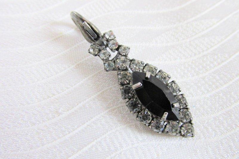 Vintage Clear Black Marquise Rhinestone Slide Pendant Silvertone Pretty