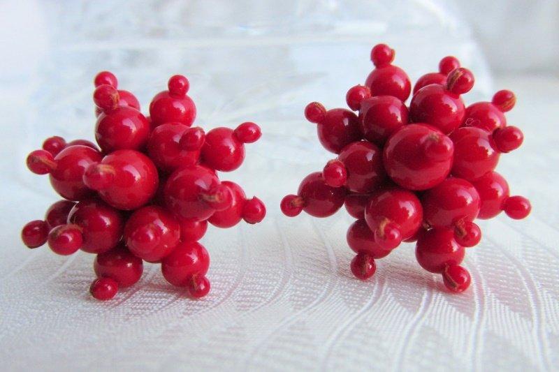 Gorgeous Vintage Red Glass Beaded Cluster Burst Earrings Silvertone Screws Japan