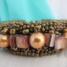 Vintage Bronzy Brown Wired Glass Beads Wraparound Cuff Bracelet Bangle MOP Beads