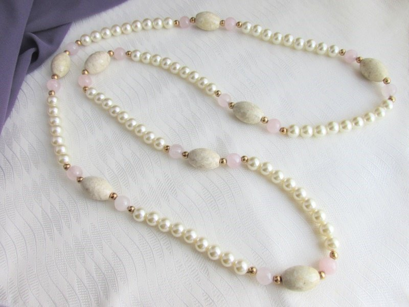 "Vintage Polished Rose Quartz Agate Jasper Faux Pearl 34"" Necklace Long Strand"