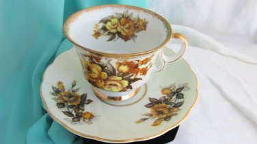 Vintage Yellow Rose Footed Cup & Saucer Scalloped