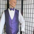 ML Jean Yves Men's Purple Black Prom Wedding Fullback Tuxedo Vest w/ Bow Tie