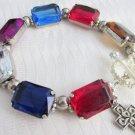 Remake Vintage Chunky Rhinestones Bracelet Silvertone Restring Old Open Links