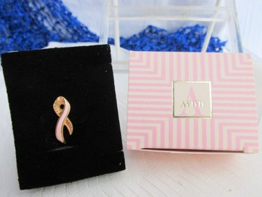 "Vtg AVON Better Breast Care Pink Enamel Ribbon 1"" Pin Gold Plated Small NIB New"