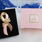 1993 Vintage AVON Pink Enamel Ribbon Pin Goldtone Better Breast Care Large NIB