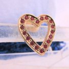 1992 Vintage AVON Red Rhinestone Sparkling Heart Pin GoldTone New Old Stock