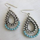 Vintage Turquoise Glass Nail Head Tear Drop Pendant Earrings Silver Plate Piercd