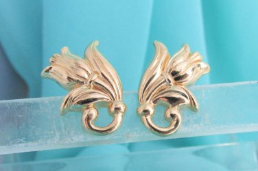 Vintage AVON Gold Plate Tulip Pierced Earrings Surgical Posts Signed NOS NIB