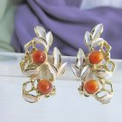 Vintage JUDY LEE Amber Bead Silvery Frost Spray Earrings Goldtone Original Card