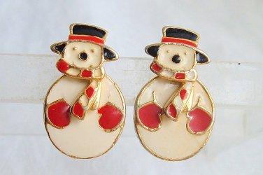 Vintage 2 Way Enamel Snowman Earrings Moving Gold Tone Pierced Articulated