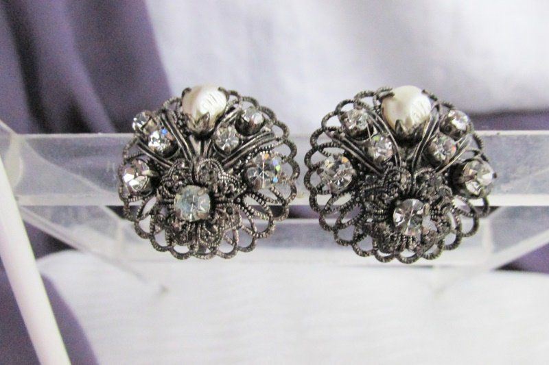 Vintage Antique Silvertone Rhinestone Baroque Faux Pearl Earrings Signed Germany