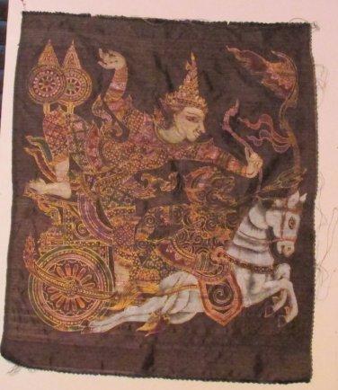 VTG Ramayana Chariot Hindu Silk Painting Print Home Wall Hanging Decor Colorful